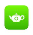 teapot icon digital green vector image