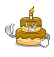 thumbs up birthday cake character cartoon vector image vector image