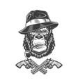 vintage monochrome serious gangster gorilla head vector image vector image