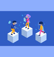 vr people future characters male and female vector image vector image