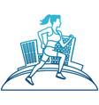 woman running at city vector image
