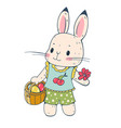 cute bunny isolated on white background vector image