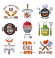 colored labels set for bbq party grilled food vector image