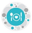 of heart symbol on plate icon vector image