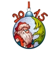 fur-tree toy with funny Santa Claus vector image