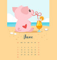 2019 year calendar page vector image vector image