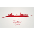 Badajoz skyline in red vector image vector image
