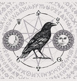 banner with hand-drawn raven and magical symbols vector image