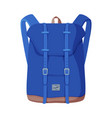 blue backpack front view travel bag for vector image vector image