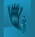 businessman facing debt evil concept brave vector image vector image