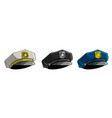 cartoon police peaked cap with golden badge vector image