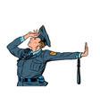 caucasian police officer shame denial gesture no vector image vector image