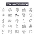 cctv videoequipment line icons for web and vector image