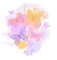 Colorful grunge background with butterfly vector image