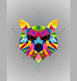 colorful owl bird low poly design vector image