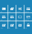 Credit card icons on blue background vector image vector image