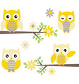Cut Owl with Branches Yellow and Grey Owl vector image vector image