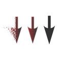 damaged pixelated halftone sharp down arrow icon vector image vector image