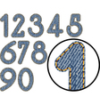 denim numbers vector image vector image