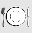 dish plate fork and knife vector image