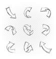 drawn black arrows set vector image