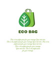 eco bag banner concept with bag and leaf vector image vector image