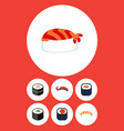 flat icon sushi set of sushi seafood sashimi and vector image vector image