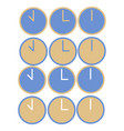 flat time set icons clock set icons for vector image