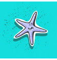 funny cute childish sea star sticker with teeth vector image