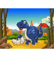 funny dinosaur cartoon with her baby in the jungle vector image vector image