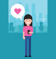 girl holding phone love shape heart in pink vector image vector image