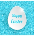 Happy Easter Greeting Card with 3d White Paper Egg vector image vector image