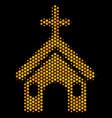 hexagon halftone christian church icon vector image