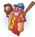 hot dog baseball cartoon character vector image