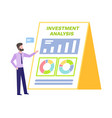 investment analysis man pointing on cardboard vector image vector image