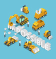 isometric construction site vehicle destroy and vector image vector image