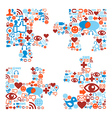 Jigsaw piece shape with media icons texture vector image vector image