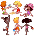 Kids on the beach on a white background vector image vector image