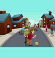 kids playing in the street of a suburban vector image