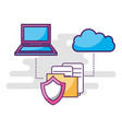 laptop cloud storage shield folder files vector image vector image