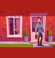 man leaving home with dog see off through window vector image