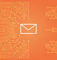 message envelope icon over computer chip vector image vector image