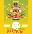 mexican traditional food festival poster on bright vector image