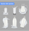 milk splashes realistic set vector image vector image