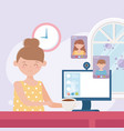 online meeting woman with cup coffee and vector image