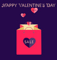 pink shopping bag with heart valentines day sale vector image vector image