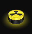 radiation symbol button yellow warning sign vector image