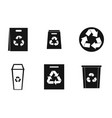 recycle material icon set simple style vector image