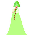 russian girl in a kokoshnik and green outfit vector image vector image