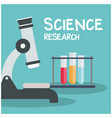 science research microscope test tube blue backgro vector image vector image